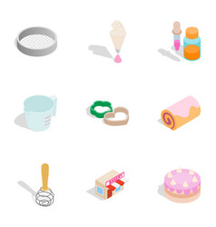 baking elements icons isometric 3d style vector image