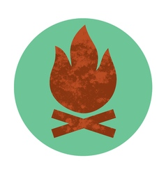 campfire textured flat icon vector image