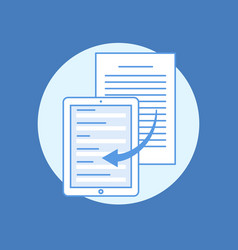 Concept of transferring information from paper vector