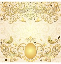 Gold easter frame vector image vector image