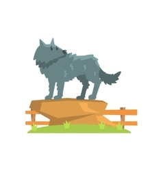Grey Wolf Standing On Large Rock On Green Grass vector image vector image