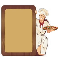 italian waitress vector image vector image