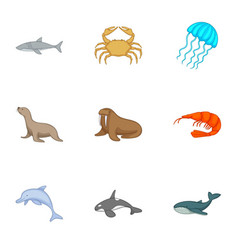residents of the north seas icons set vector image
