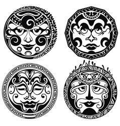 Set of polynesian tattoo styled masks vector image