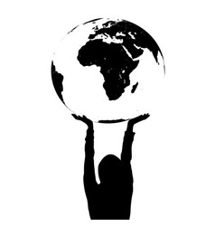 woman silhouette holding the earth in hands vector image vector image