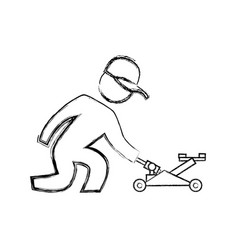 Worker mechanic silhouette vector