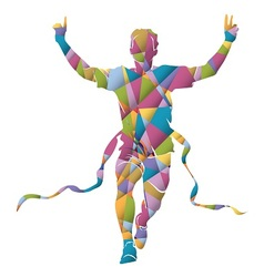 Colorful silhouette running winner vector image vector image