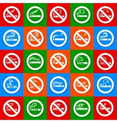 No smoking and smoking area - Big set stickers vector image