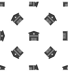 barn for animals pattern seamless black vector image vector image
