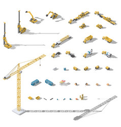 construction machinery and equipment lowpoly vector image vector image