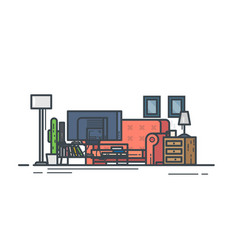 Living room with sofa vector