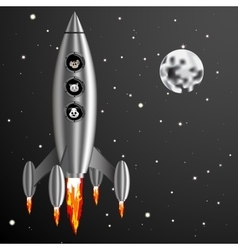 rocket and dog cat mouse fly vector image