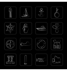 Simple Marine Sailing and Sea Icons vector image