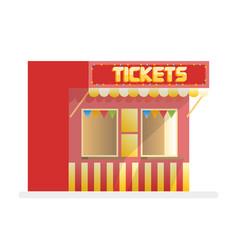tickets sale red kiosk cartoon vector image