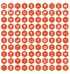 100 electricity icons hexagon orange vector