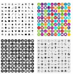 100 sport team icons set variant vector image