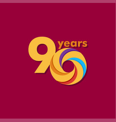 90 year anniversary colorful template design vector