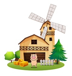 A playful pig outside the wooden barnhouse with a vector