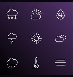 air icons line style set with humidity sunshine vector image