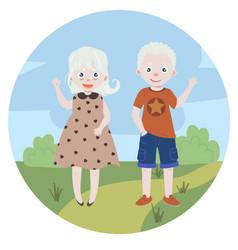 albino kids albinism boy and girl vector image