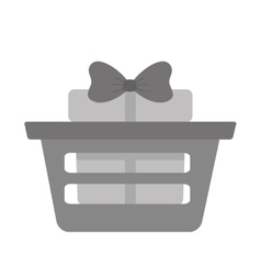 Basket shop with gift box ribbon gray color vector