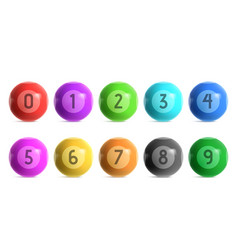 bingo lottery balls with numbers from zero to nine vector image