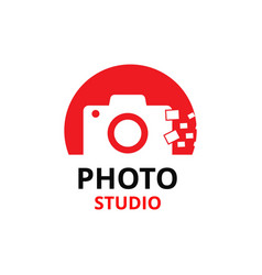 Black and red icon for photographer vector