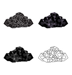 Black minerals from the minecoal which is mined vector