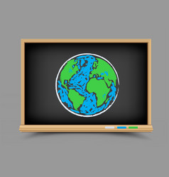 blackboard earth lesson vector image