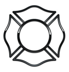 Blank fire department logo base black chrome trim vector