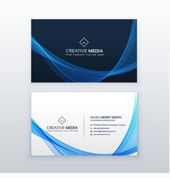 Blue wave business card design template vector
