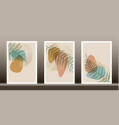botanical wall art set tropical plant art vector image