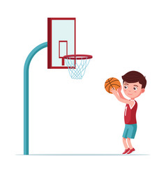 boy basketball player throws ball in basket vector image