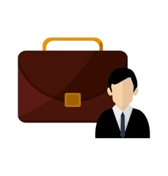 Briefcase and businessman icon vector