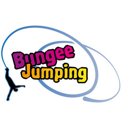 Bungee jumping colorful logo with a silhouette vector