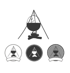 Camping bonfire silhouette icon set vector