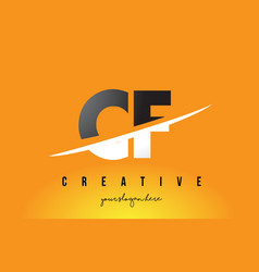 Cf c f letter modern logo design with yellow vector