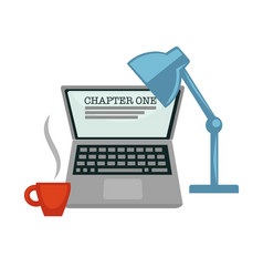 chapter one writing novel laptop and lamp coffee vector image