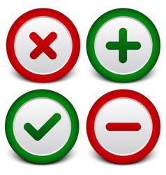 Checkmark cross plus minus signs symbols vector