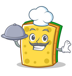chef with food sponge cartoon character funny vector image
