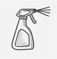 cleaning spray bottle hand drawn sketch icon vector image