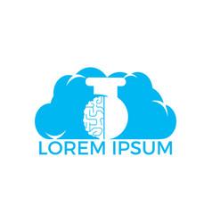 cloud brain lab logo design vector image