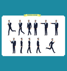 Collection set of walking and running businessman vector