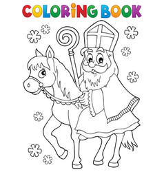 Coloring book sinterklaas on horse vector