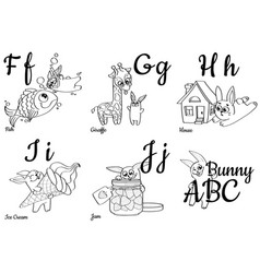 colorless alphabet letters for kids coloring book vector image