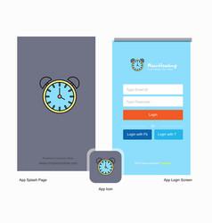 Company alarm clock splash screen and login page vector