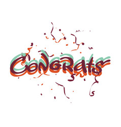 Congrats lettering and confetti vector