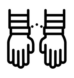 criminal hands in irons icon outline vector image