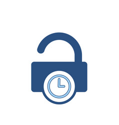 Delay lock padlock password secure time icon vector