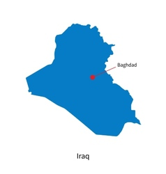 Detailed map of Iraq and capital city Baghdad vector image